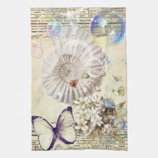 French botanical butterfly modern vintage seashell hand towel