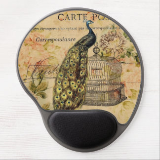 french botanical floral birdcage vintage peacock gel mouse pad