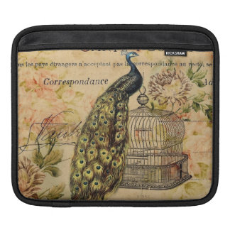 french botanical floral birdcage vintage peacock iPad sleeve