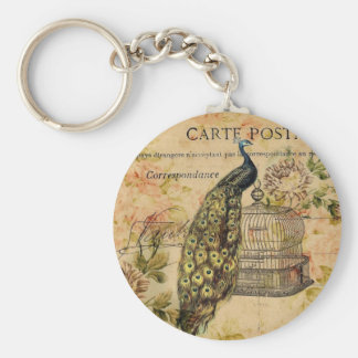 french botanical floral birdcage vintage peacock keychain
