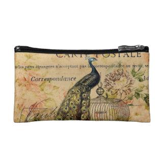 french botanical floral birdcage vintage peacock makeup bag