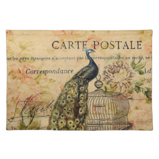 french botanical floral birdcage vintage peacock placemat