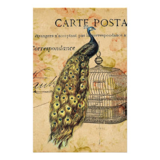 french botanical floral birdcage vintage peacock stationery