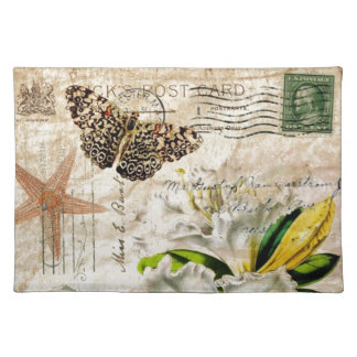 french botanical floral shabby elegance cloth placemat