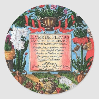 French Botanical Illustration Classic Round Sticker
