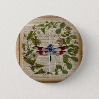 french botanical leaves modern vintage dragonfly button
