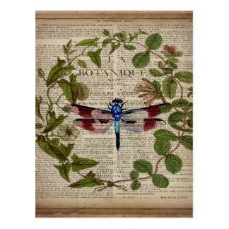 french botanical leaves modern vintage dragonfly postcard