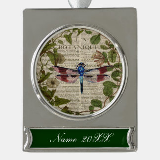 french botanical leaves modern vintage dragonfly silver plated banner ornament