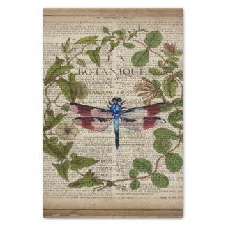 french botanical leaves modern vintage dragonfly tissue paper