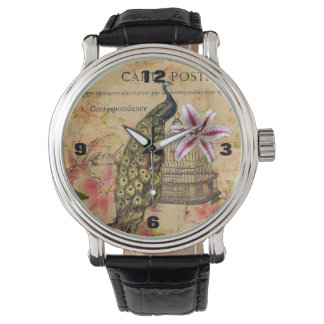 french botanical lily modern vintage peacock wristwatch