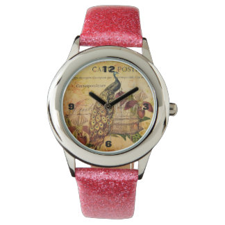 French Botanical orchid modern vintage peacock Wristwatch