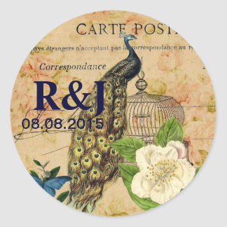 french botanical rose birdcage vintage peacock classic round sticker