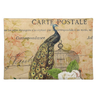 french botanical rose birdcage vintage peacock cloth placemat
