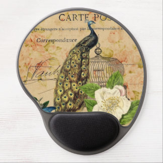 french botanical rose birdcage vintage peacock gel mouse pad