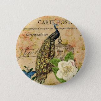 french botanical rose birdcage vintage peacock pinback button