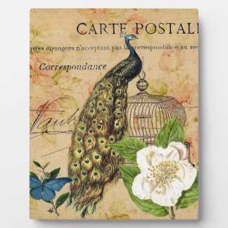 french botanical rose birdcage vintage peacock plaque