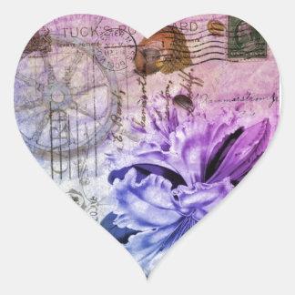 french botanical seashells shabby chic purple lily heart sticker