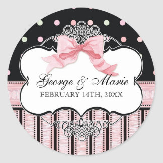 French Bow n Dots, Bridal Shower Sticker Seal