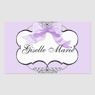 French Bow n Dots, Girl Baby Shower Sticker Seal
