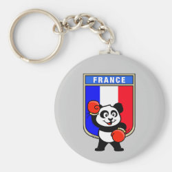 Basic Button Keychain with French Boxing Panda design
