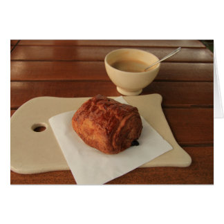 French breakfast: coffee with a pain au chocolat card