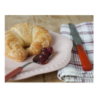 French breakfast with croissant postcard
