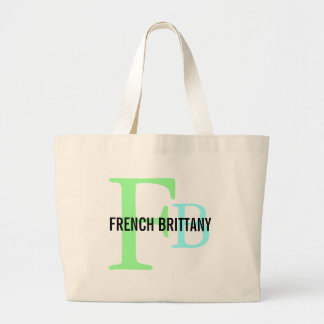 French Brittany Breed Monogram Design Tote Bags