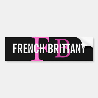 French Brittany Breed Monogram Design Bumper Sticker