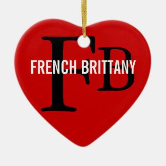 French Brittany Breed Monogram Design Ceramic Ornament