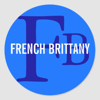 French Brittany Breed Monogram Design Classic Round Sticker