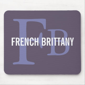 French Brittany Breed Monogram Design Mouse Pad