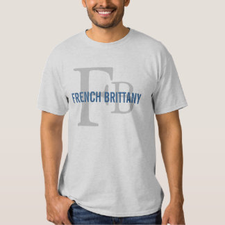 French Brittany Breed Monogram Design T-Shirt