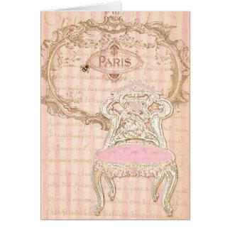 French Brocante Royale Pink de la Queen's Chair Card