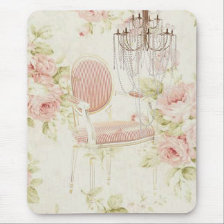 French Budoir  Vintage Pink Floral Chandelier Mouse Pad