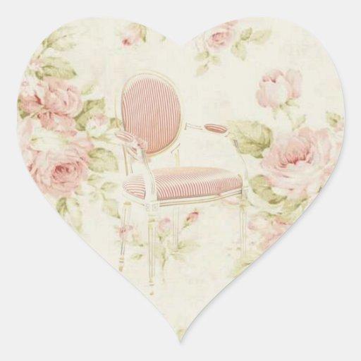 French Budoir  Vintage Pink Floral Chandelier Heart Sticker
