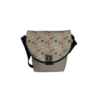 French bull dog, dog treat and paw patterns courier bag