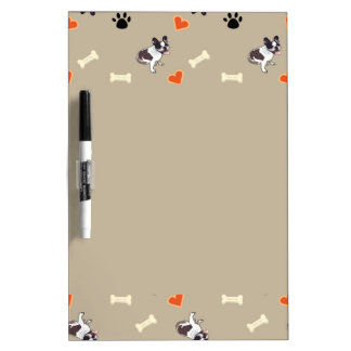 French bull dog, dog treat and paw patterns dry erase board