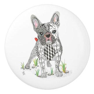 French Bull Dog Door Knob - Ceramic