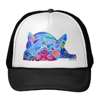 French Bull Dog in Blues Trucker Hat