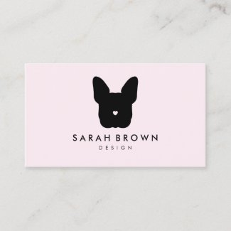 French Bull Dog puppy face frenchies soft pink Business Card
