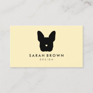 French Bull Dog puppy heart nose frenchies yellow Business Card