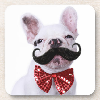 French Bull Dog Puppy With Mustache 2 Beverage Coaster