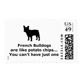 French Bull Dogs are like Potato Chips Stamps