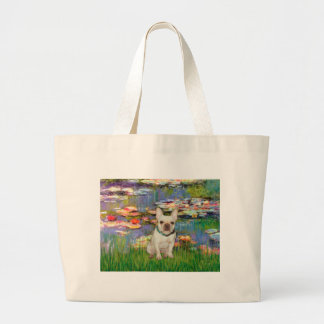 French Bulldog 1 - Lilies 2 Large Tote Bag