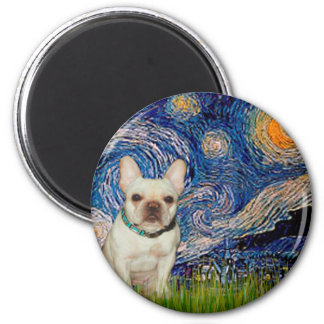French Bulldog 1 - Starry Night 2 Inch Round Magnet