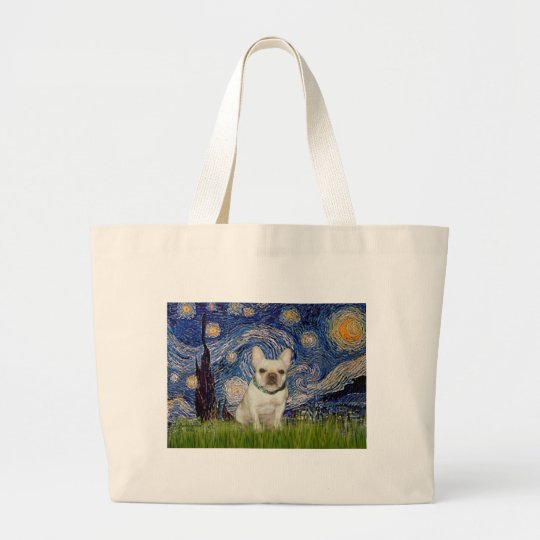 French Bulldog 1 - Starry Night Large Tote Bag
