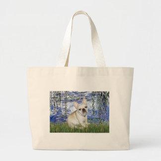 French Bulldog 3 - Lilies 6 Large Tote Bag