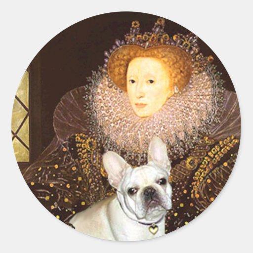 French Bulldog 3 - Queen Round Stickers