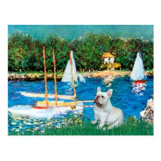 French Bulldog 4 - Sallboats Postcard