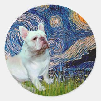 French Bulldog (4W) - Starry Night Round Stickers